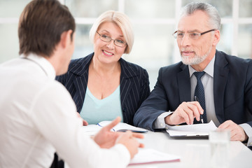 Man having an interview with employers