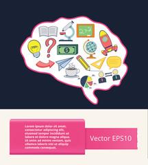 Vector flat brain illustration