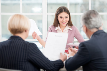 Woman having an interview with employers