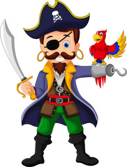 pirate cartoon and parrots