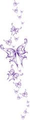 Set Butterflys Blue Tattoo  Vector