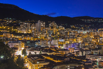 Monaco,  residential areas and port in the night