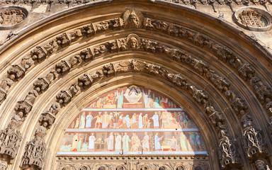 Tympanum of Saint-Laurent church (XV c.) in Paris