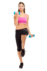 Beautiful fitness woman exercising isolated