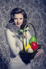easter woman with rabbit