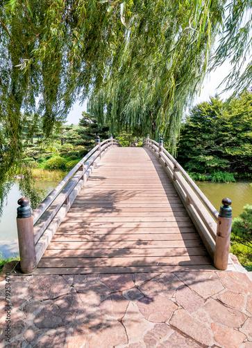 Panel Szklany Chicago Botanic Garden, bridge to Japanese Garden area