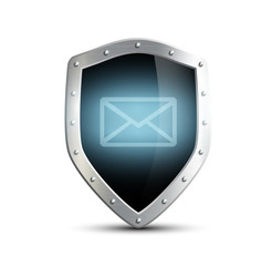 metal shield with the image of the envelope. isolated on white b