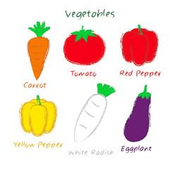 vegetables, crayon drawing