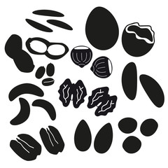 various nuts types black icons set eps10