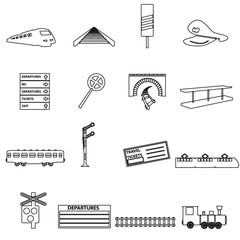 train and railway simple outline icons eps10