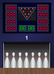 Vector bowling pins on bowling alley
