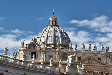Dome of the Saint Peters Basilica in the Vatican City in Rome.