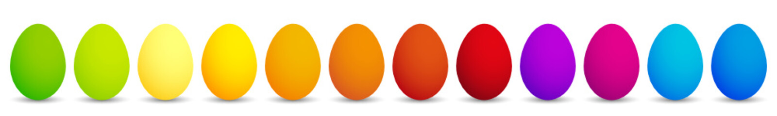 12 colourful easter eggs