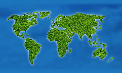 Ecology world map illustration