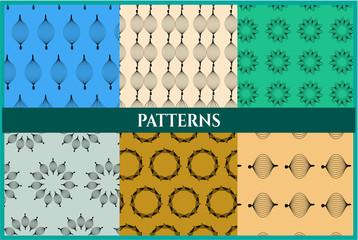 Set of six retro patterns