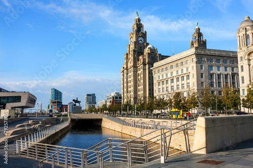 Poster Liverpool Liver Building and seafront