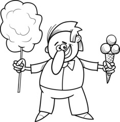 candy vendor coloring page