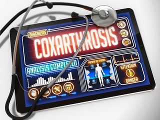 Coxarthrosis on the Display of Medical Tablet.