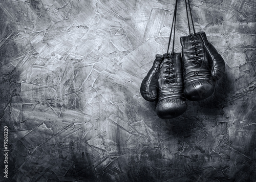 canvas print picture old boxing gloves