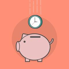 piggy bank with a clock