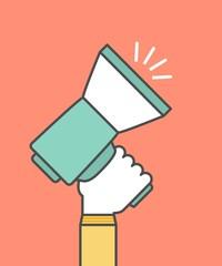 hand holding a megaphone,digital marketing concept