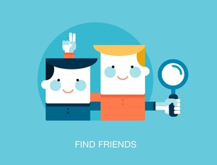 concept of looking for friends on the internet, vector illustrat