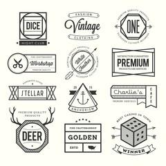 set of vintage logos, badges and labels