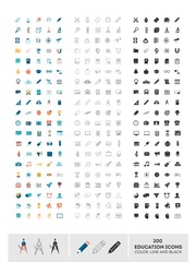 set of 300 education icons made in color, line and black, vector