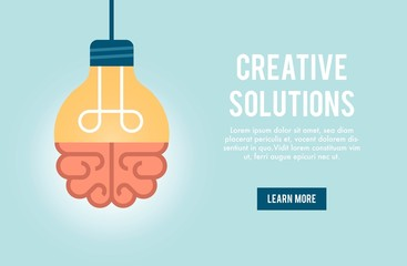 concept banner for creative solution, vector illustration