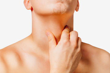 Pain in a male throat