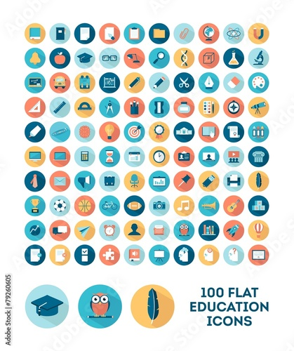 set of 100 flat style education icons - 79260605