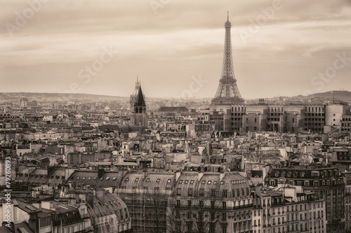 Fototapeta View of Paris and of the Eiffel Tower from Above