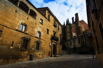 Old street and Cathedral of Plasencia