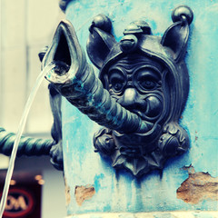 detail of medieval fountain , Lucerne, Switzerland.