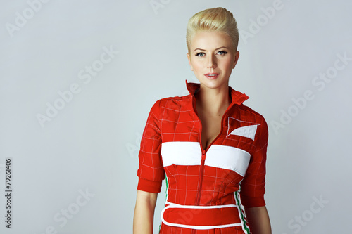 Poster Portrait beauty sexy blond woman in red dress perfect