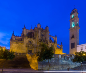 Cathedral in  evening time. Jerez de la Frontera