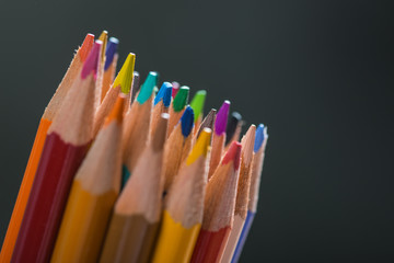 Bunch of color pencils in a stand