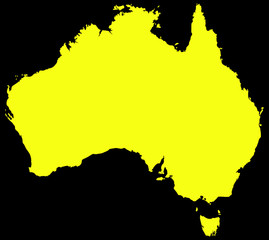 Australia Map Black And Yellow