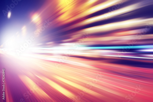 Abstract image of night lights with in the city.
