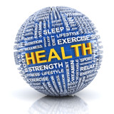 Sphere with word related to health poster