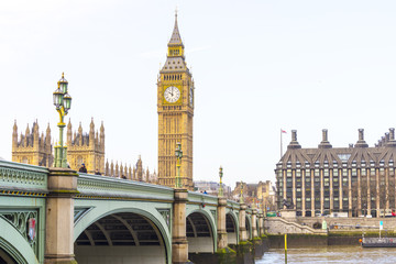 Big Ben with Westminster bridge and EU Parlament in London