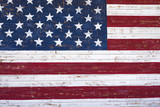 Fototapety Painted American flag onn wooden wall