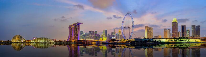 Panorama view of Singapore city skyline at Marina Bay
