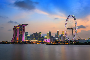 Singapore city skyline at Marina Bay