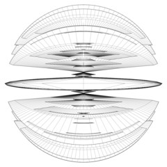 Geometric Wireframe Slice Sphere Vector