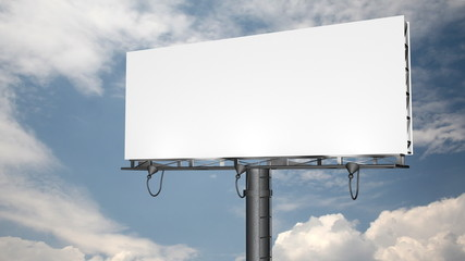 Blank Billboard with Moving Clouds