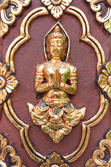 Thai culture sculpture on the temple wall