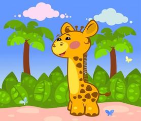Веселый жираф на фоне пальм
