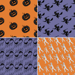 Set with 4 Halloween seamless backgrounds