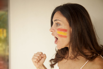 Woman with Spain flags